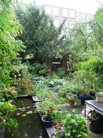 Tuin vanuit het huis gezien met halverwege een zitje in het groen.